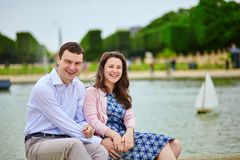 Couple in the Luxembourg garden of Paris Stock Photography