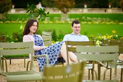 Couple in the Luxembourg garden of Paris Stock Photo