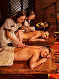 Couple luxuriate  Ayurvedic spa treatment Royalty Free Stock Image
