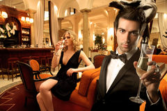 Couple in a luxury bar Royalty Free Stock Photos