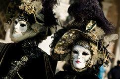 Couple with luxury masks Royalty Free Stock Photography