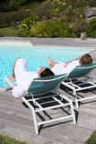 Couple in luxury resort relaxing Stock Photo