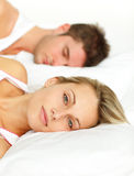 Couple lying in bed Royalty Free Stock Photo