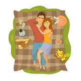 Couple lying on a blanket on a picnic in the park, top view from above. Vector illustration vector illustration
