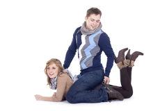 Couple lying on the floor. Young couple lying on the floor stock photos