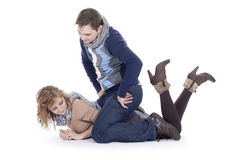 Couple lying on the floor Royalty Free Stock Photography