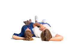 Couple lying on floor Royalty Free Stock Photography