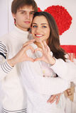 Couple made heart. Man and women made heart with their hands Royalty Free Stock Image
