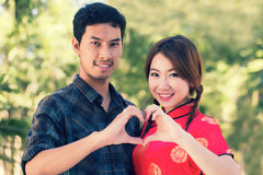Couple make hearth sign Royalty Free Stock Image