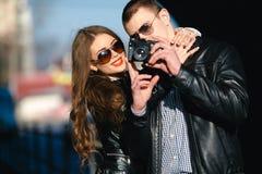 Couple makes photo Royalty Free Stock Photo