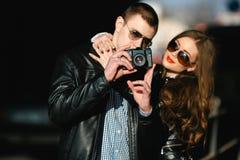 Couple makes photo Stock Photography