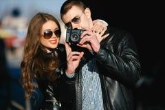 Couple makes photo Royalty Free Stock Photos