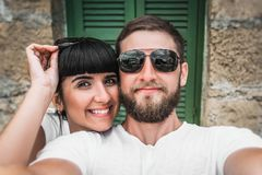 Couple makes a selfie stock photo