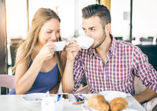 Couple making breakfast at home Stock Photography