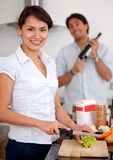 Couple making dinner Stock Photo