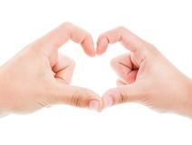 Couple making heart shape with fingers Royalty Free Stock Photography