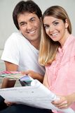 Couple Making House Plans stock photography