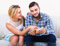 Couple making list of purchases Stock Images