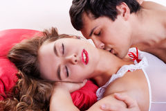 Couple making love in bed Royalty Free Stock Images
