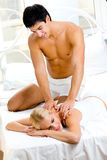 Couple making massage Stock Image