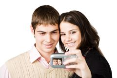 Couple making photo Royalty Free Stock Photography