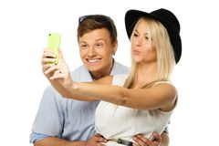 Couple making selfie Stock Image