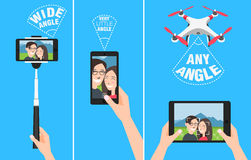 Couple making selfie with drone, selfiestick and using hands. showing different angles and abilities of devices. Couple making selfie with drone, selfiestick Stock Photos