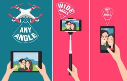 Couple making selfie with drone, stick and using hands showing different angles abilities of devices. Couple making selfie with drone, selfie stick and using Stock Images