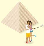 Couple Making Selfie Near The Egyptian Pyramid Stock Image