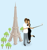 Couple Making Selfie Near The Eiffel Tower in Paris Royalty Free Stock Images