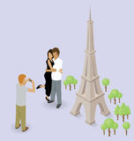 Couple Making Selfie Near The Eiffel Tower in Paris. Vector flat isometric сouple making selfie near the Eiffel Tower in Paris Stock Photos