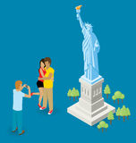 Couple Making Selfie Near The Statue of Liberty in USA Stock Images