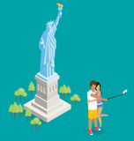 Couple Making Selfie Near The Statue of Liberty in USA Royalty Free Stock Image