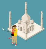 Couple Making Selfie Near The Taj Mahal Royalty Free Stock Image