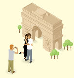 Couple Making Selfie Near The Triumphal Arch in Paris Royalty Free Stock Image