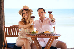 Couple making a toast at the beach. Good looking young couple making a toast with a glass of wine while eating lunch at the beach royalty free stock images