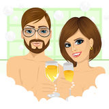Couple making toast with champagne in bathtub stock illustration