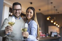 Couple making a toast royalty free stock photography