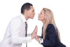 Couple making up and preparing to kiss Stock Image