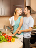 Couple making vegetable salad Stock Image