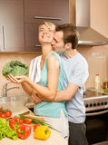 Couple making vegetable salad Stock Photo