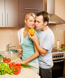 Couple making vegetable salad Royalty Free Stock Photography