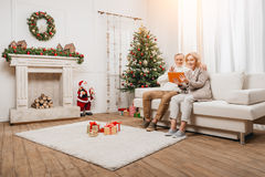 Couple making video call on christmas Royalty Free Stock Photos