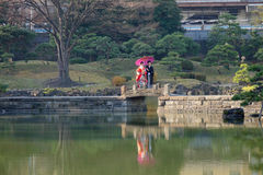 A couple making wedding photoshoots at Urban park in Tokyo Stock Photos