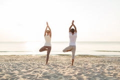 Couple making yoga exercises outdoors from back Royalty Free Stock Photography