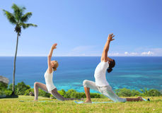 Couple making yoga in low lunge pose outdoors Royalty Free Stock Photo