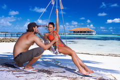 Couple at Maldives Stock Photography