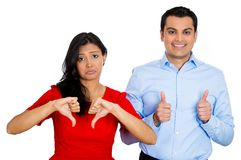 Couple. Man excited, woman sad Royalty Free Stock Image
