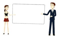 Couple (man and girl) with empty board. 3d render of cartoon couple (man and girl) with empty board Royalty Free Stock Photography