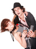 Couple man and girl with wine dance. Stock Image
